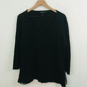 Lane Bryant V-Neck Polka Dot Inset Sweater
